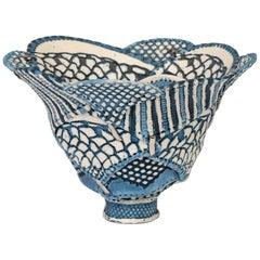 Linda Chew Studio Pottery Patterned Textile Porcelain Bowl
