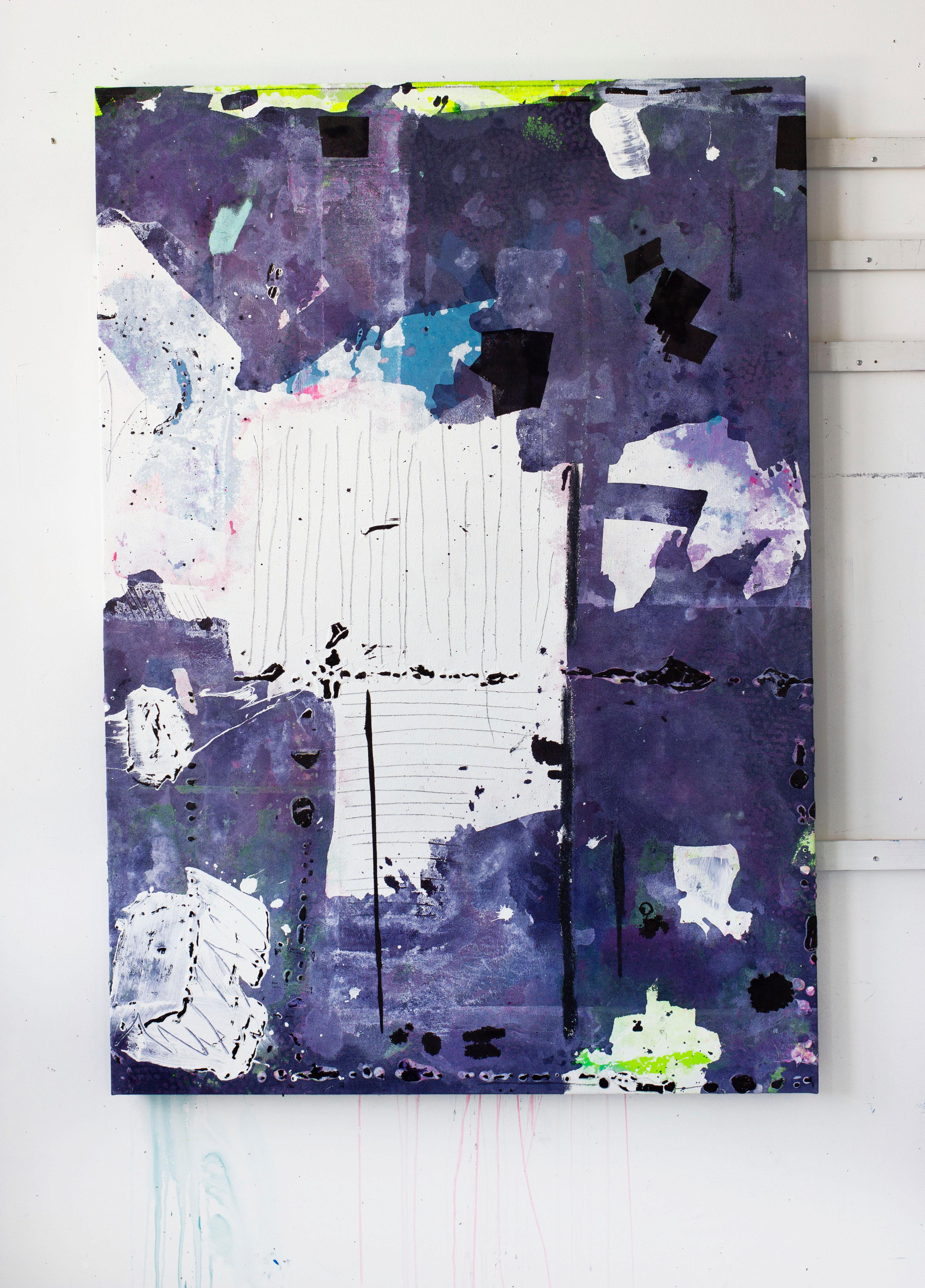 Betwixt II, Acrylic, Oil, Graphite, Spray Paint on Canvas, Signed