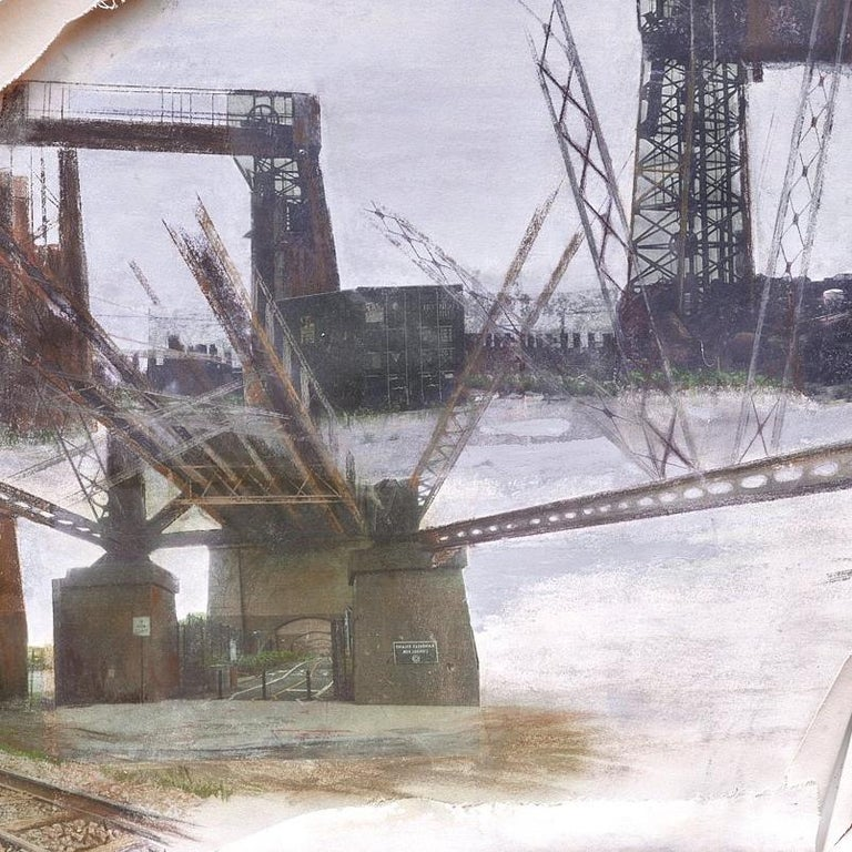 canvas, collage, pastel, acrylic, photo transfers, 2016    Bifurcated sheets of canvas with torn edges suggest the beautiful open vistas now inaccessible to the residents of the Mott Haven and Port Morris areas of the South Bronx, abandoned and