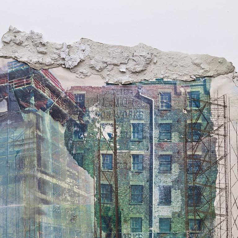 Bifurcated sheets of canvas with torn edges suggest the beautiful open vistas now inaccessible to the residents of the Mott Haven and Port Morris areas of the South Bronx, abandoned and dominated by deteriorating remains, rotting remnants of piers,