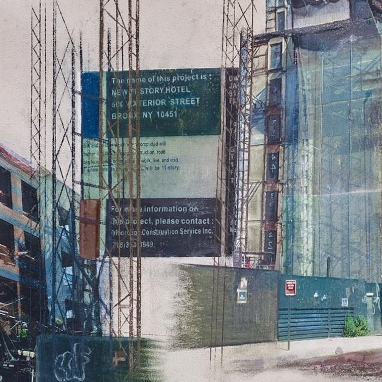 Linda Cunningham,'South Bronx Waterfront Sagas_The New Vision', Canvas, Pastel  For Sale 1