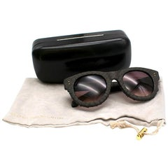 Linda Farrow Brown Python Sunglasses