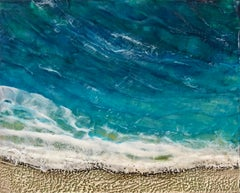4pm - Relaxing Abstract Beach Ocean Scene + Sand + Waves in Blue + Teal + Beige