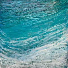 After Man - Abstract Ocean Landscape Seascape Beach in Blue + White