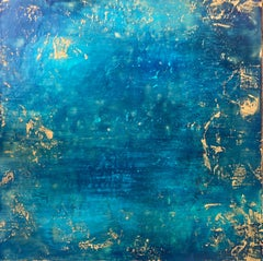 Beauty in Isolation - Rich Abstract Encaustic Painting - Water Ocean Blue + Teal