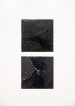 Heart Diptych - Contemporary Encaustic in Black with Smooth Texture