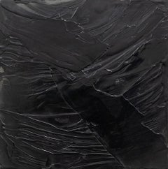 Heart of Stone - Contemporary Encaustic in Black with Smooth Texture