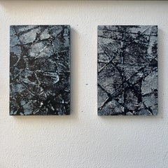 Neural Network - Contemporary Encaustic Diptych (Black + White)