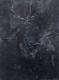 Olduvai - Contemporary Encaustic Painting in Black with Smooth Textured Surface