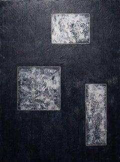 Relativity - Contemporary Encaustic Painting Geometric (Black + White + Grey)