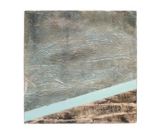 Thoroughfare -Contemporary Encaustic Painting with Texture (Black + Teal + Grey)