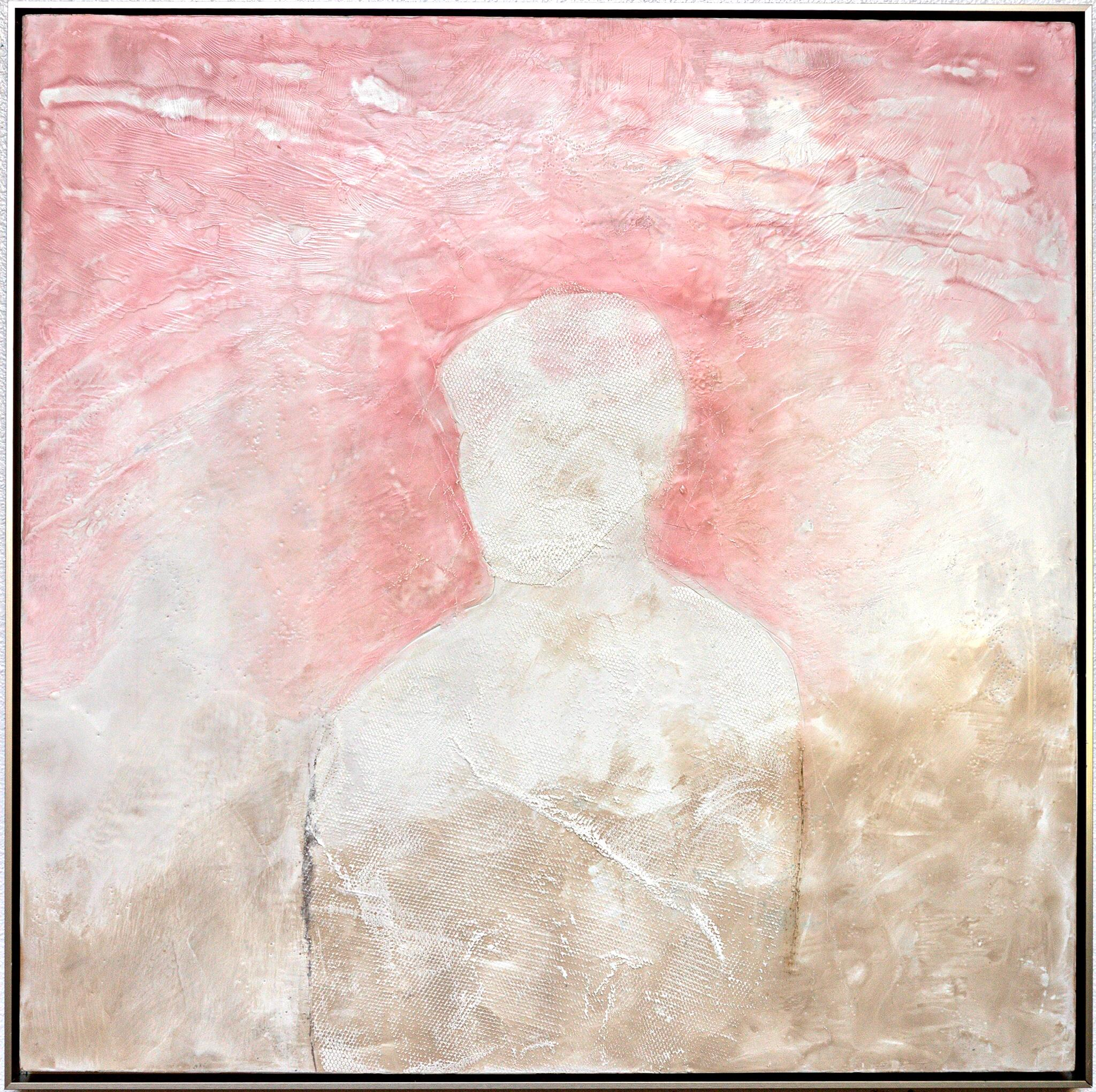 Tomorrow & Tomorrow - Contemporary Encaustic Figure Painting Grey + Pink