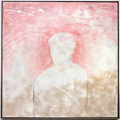 Tomorrow & Tomorrow - Contemporary Encaustic Figure Painting Grey + Pink