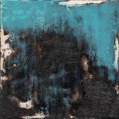 Turnaround - Contemporary Encaustic (Blue + Black + White)