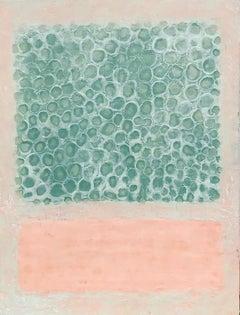 Urban Garden - Colorfield Encaustic Wax Landscape Painting in Pink + Green