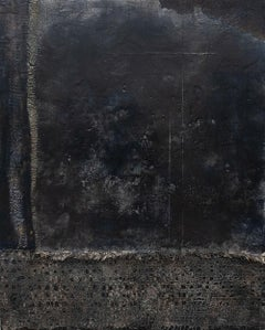 Walkabout I - Contemporary Encaustic Painting Textured (Black + White + Grey)