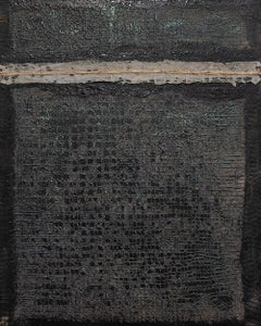 Walkabout II - Contemporary Encaustic Painting (Black + White + Grey)
