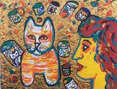 Redhead, Cups & Cat