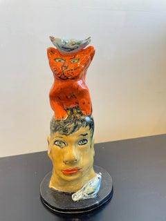 Cat Head Bird Mini Totem