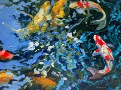 """""""7 Koi""""   Expressionist Brightly Colored Koi Underwater in Red/Yellow/Blue/Green"""