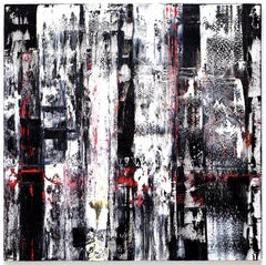 """""""Large Abstraction, Black, White and A Little Red"""" Oil Paint Expressionist Bold"""
