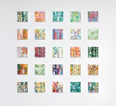 """Brilliant Color Grid, 25 Small Abstract Expressionist Paintings, 8"" x 8"" Each"""