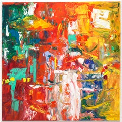 """Untitled"" Large Abstract Expressionist Red Orange Yellow Bold Colorful"