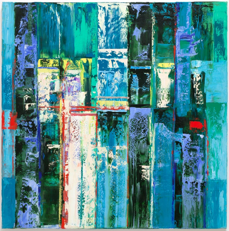 "Linda Holt Abstract Painting - ""Large Abstraction, Mostly Blue, with Turquoise, Green, Blue, White, Red, Black"""