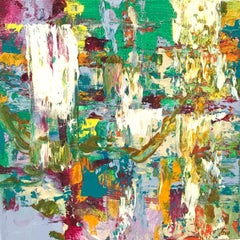 """Small Abstract #104"" Green, White, Purple, Lavender, Orange, Blue Expressionist"