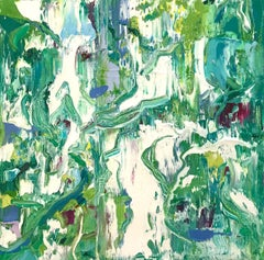 """Small Abstract #106"" Shades of Green, Aqua, White"
