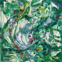 """Small Abstract #108, Vividly Colored Green/Purple/White Abstract Expressionist"""