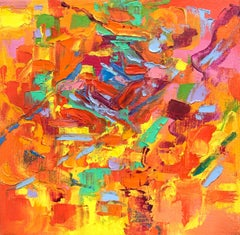 """""""Small Abstract #110""""   Vivid Expressionist Oil Orange, Yellow, Pink, Green, Red"""