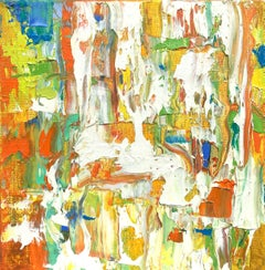 """Small Abstract #114"" Vivid Expressionist Oil White, Orange, Yellow, Green, Blue"
