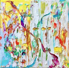 """Small Abstract #117"" Abstract Expressionist Yellow, White, Orange, Blue, Purple"