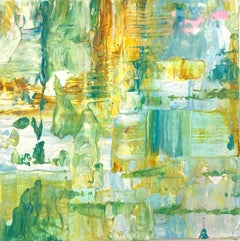 """Small Abstract #118, Abstract Expressionist Oil in Greens, Yellow and White"""