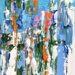 """Small Abstract #123""    Expressionist Oil in Blues, White, Pink, Green, Orange"