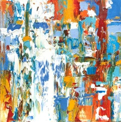 """Small Abstract #124""  Vivid Abstract Expressionist Oil White, Blue, Orange, Red"