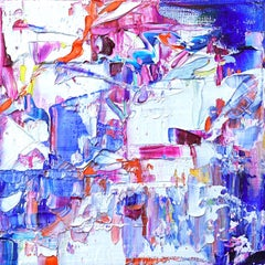 """Small Abstract #134""  Expressionist colorful white blue, purple, orange, yellow"