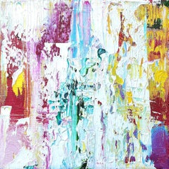 """Small Abstract #137""   Expressionist colorful purples, turquoise, white, yellow"