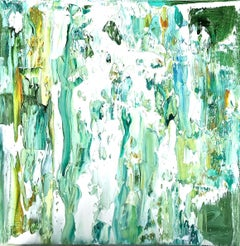 """Small Abstract #138""     Expressionist Oil in White, Blue, Green, Yellow Ochre"