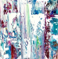 """Small Abstract #142""   Expressionist Oil White, Blue, Lavender, Green, Purple"