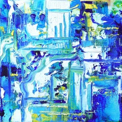 """Small Abstract #144""  Expressionist oil, shades of blue, green, white, yellow"