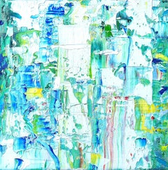 """Small Abstract #147""  Expressionist colorful greens, white, turquoise, yellow"