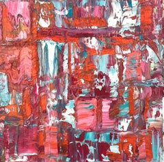 """Small Abstract #15"" Abstract Expressionist Burgundy, Blue, Orange, White Work"
