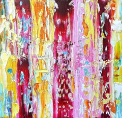 """Small Abstract #150""  Expressionist,  burgundy, pink, yellow, white, turquoise"
