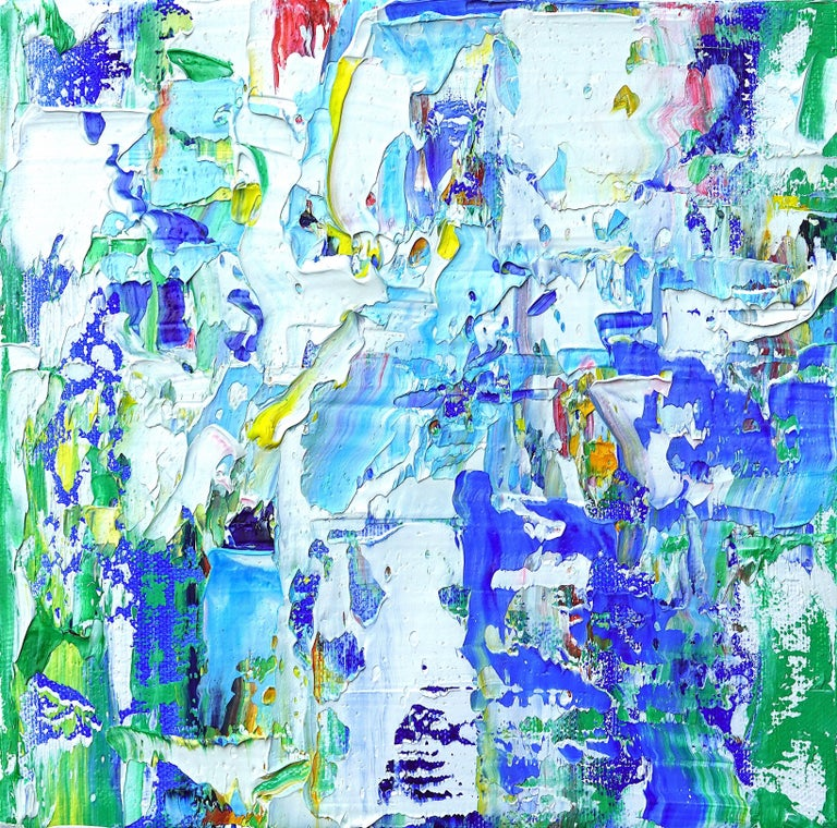 """Linda Holt Abstract Painting - """"Small Abstract #151"""" Expressionist Abstract Colorful Blue Green Oil Painting"""