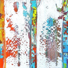 """Small Abstract #154""  Expressionist bright red white, orange, turquoise, yellow"