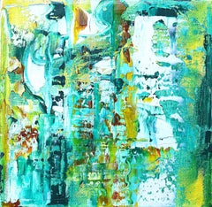 """Small Abstract #157""   Expressionist greens, turquoise, yellow ochre, white"