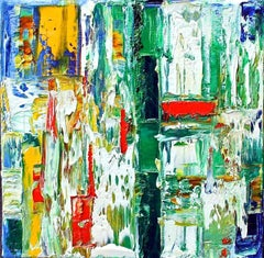 """Small Abstract  # 42""  Expressionist Oil White, Green, Red, Orange, Blue, Black"