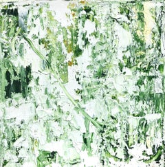 """Small Abstract #48""    Abstract Expressionist Oil in Shades of Green and White"